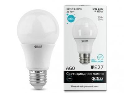 Лампа Gauss LED Elementary A60 E27 6W 4100K 1/40