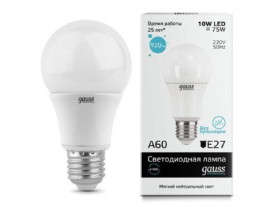 Лампа Gauss Elementary LED A60 E27 10W 4100K 1/40