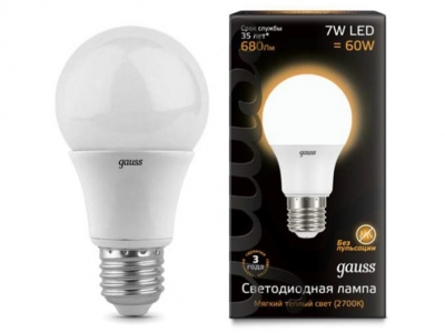 Лампа Gauss LED A60 E27 7W 2700K 1/40